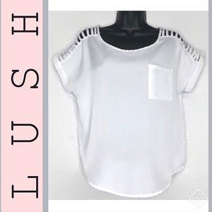 LUSH White Short Sleeve Blouse & Cut Out Shoulders